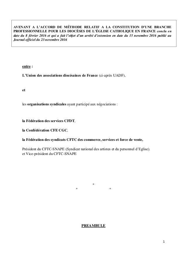 1 AVENANT A L'ACCORD DE MÉTHODE RELATIF A LA CONSTITUTION D'UNE BRANCHE PROFESSIONNELLE POUR LES DIOCÈSES DE L'ÉGLISE CATH...