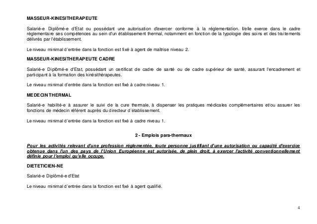 Avenant de classification des emplois sur le thermalisme - Grille indiciaire cadre superieur de sante ...