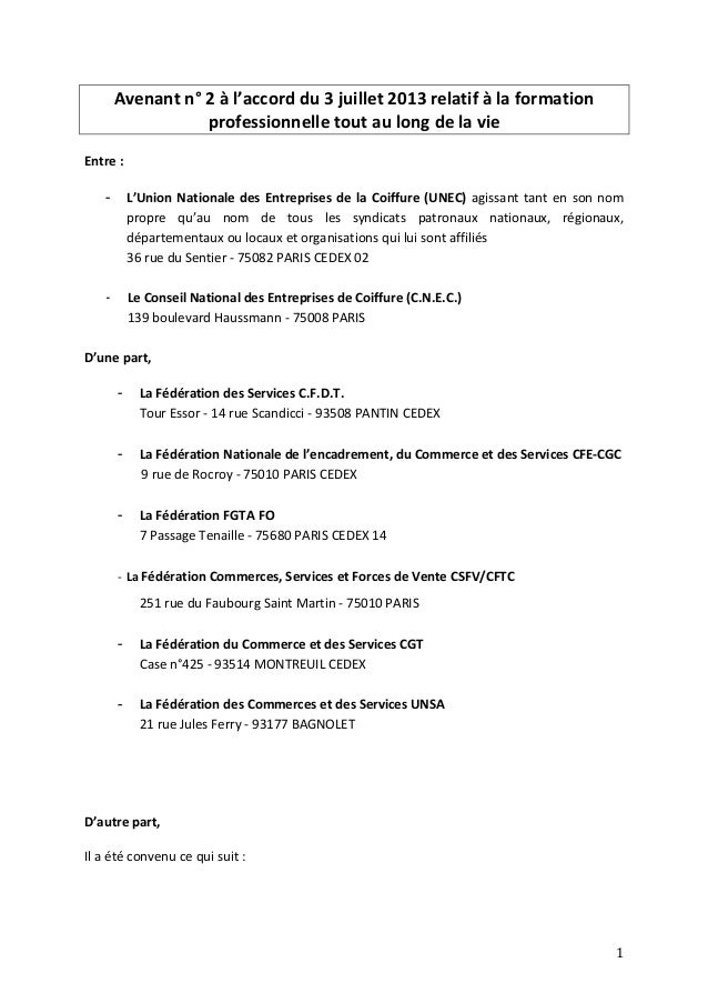 Avenant n° 2 à l'accord du 3 juillet 2013 relatif à la formation professionnelle tout au long de la vie Entre : - L'Union ...
