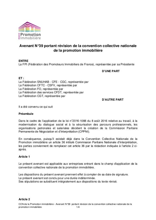 CCN de la Promotion immobilière - Avenant N°39 portant révision de la convention collective nationale de la promotion immo...