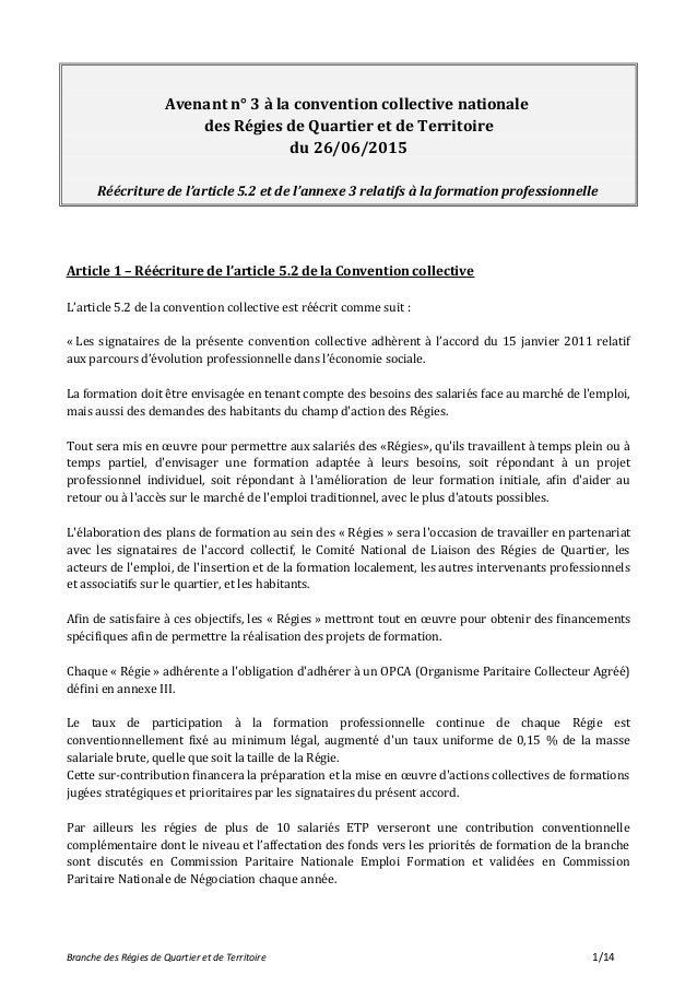 Avenant n° 3 à la convention collective nationale des Régies de Quartier et de Territoire du 26/06/2015 Réécriture de l'ar...