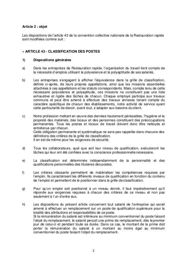 contrat de travail restauration rapide Nouvelle classification dans la restauration rapide contrat de travail restauration rapide