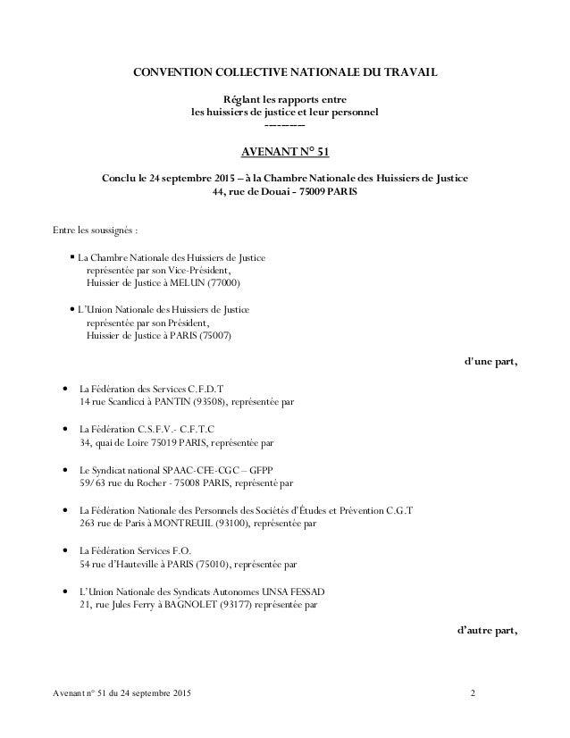 Idcc 1921 avenant n 51 du 24 septembre 2015 - Chambre nationale des huissiers de justice ...