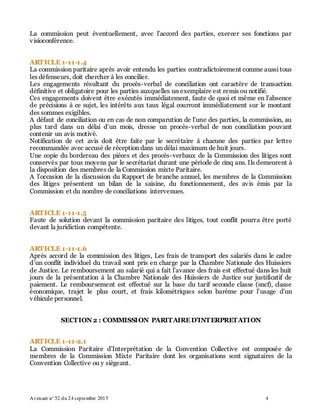 Idcc 1921 avenant n 52 du 24 09 2015 commission des litiges - Chambre des huissiers de justice de paris ...