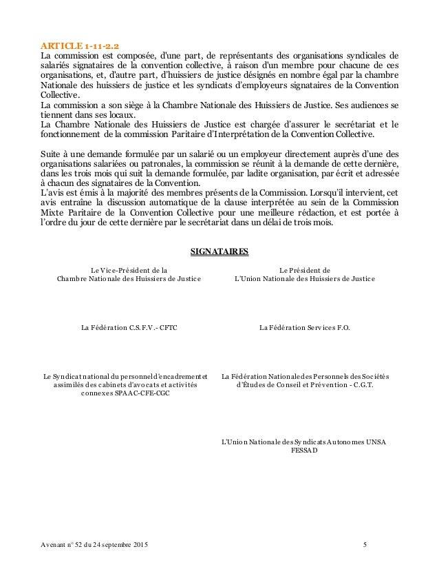 Idcc 1921 avenant n 52 du 24 09 2015 commission des litiges - Chambre nationale des huissiers de justice ...