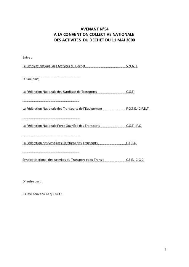 AVENANT N°54 A LA CONVENTION COLLECTIVE NATIONALE DES ACTIVITES DU DECHET DU 11 MAI 2000 Entre : Le Syndicat National des ...