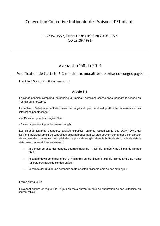 Idcc 1671 Avenant N 58 Report Des Conges Payes