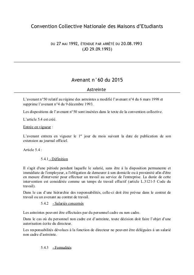 Convention Collective Nationale des Maisons d'Etudiants DU 27 MAI 1992, ÉTENDUE PAR ARRÊTÉ DU 20.08.1993 (JO 29.09.1993) A...