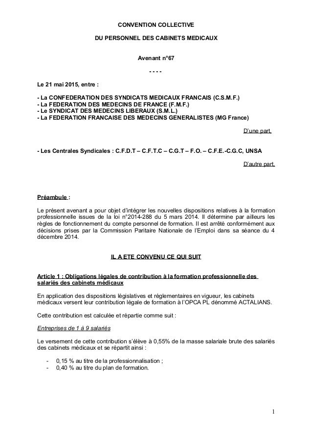 CONVENTION COLLECTIVE DU PERSONNEL DES CABINETS MEDICAUX Avenant n°67 - - - - Le 21 mai 2015, entre : - La CONFEDERATION D...