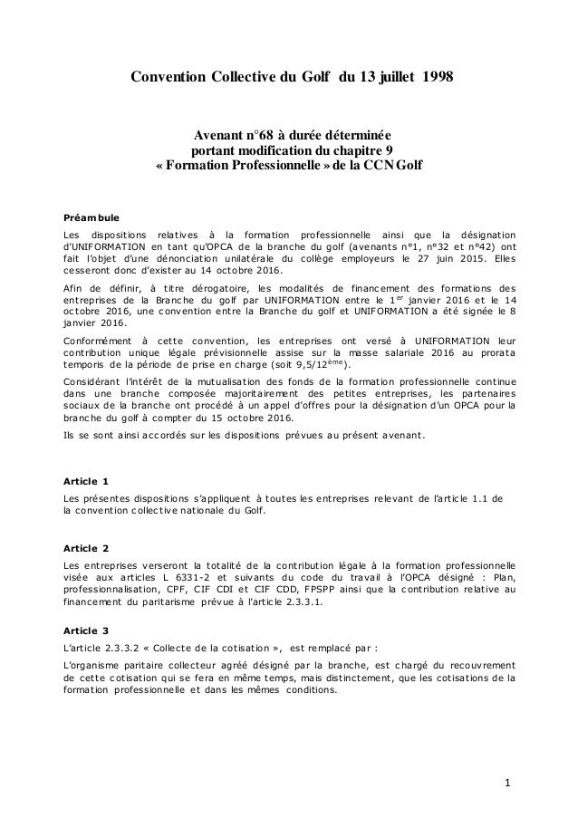 IDCC 2021 Avenant n68 formation prof du 280616