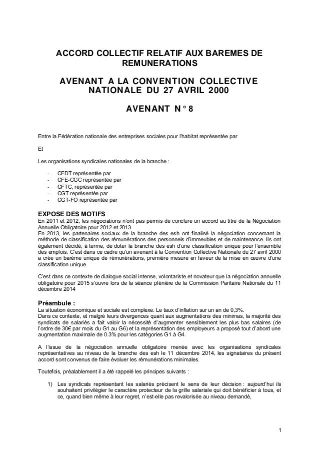 ACCORD COLLECTIF RELATIF AUX BAREMES DE REMUNERATIONS AVENANT A LA CONVENTION COLLECTIVE NATIONALE DU 27 AVRIL 2000 AVENAN...