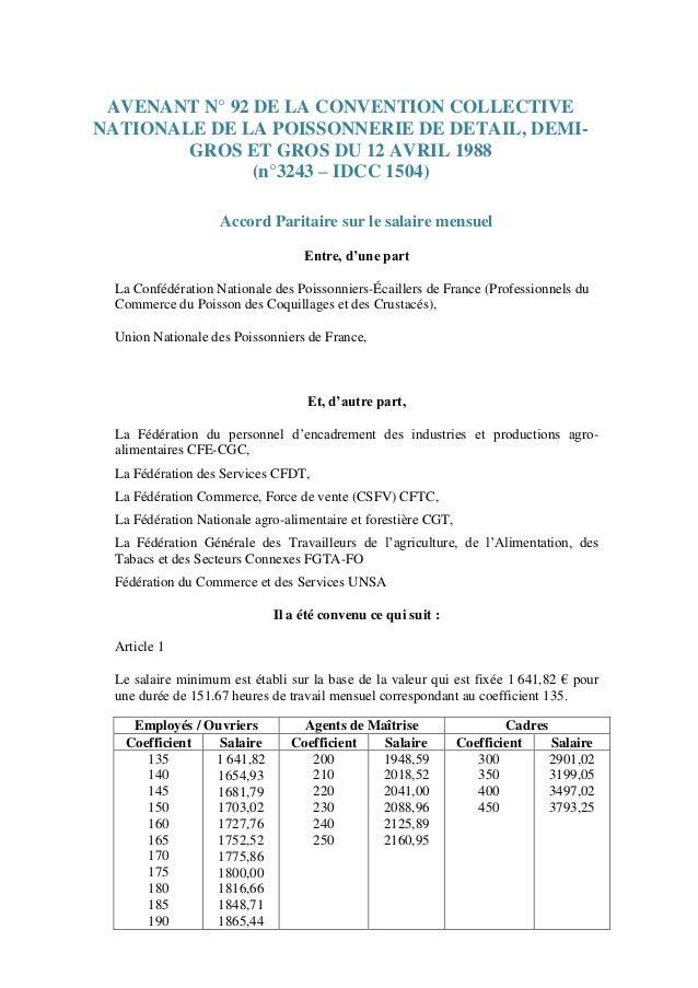 Idcc 1504 Avenant N 92 Grille Des Salaires