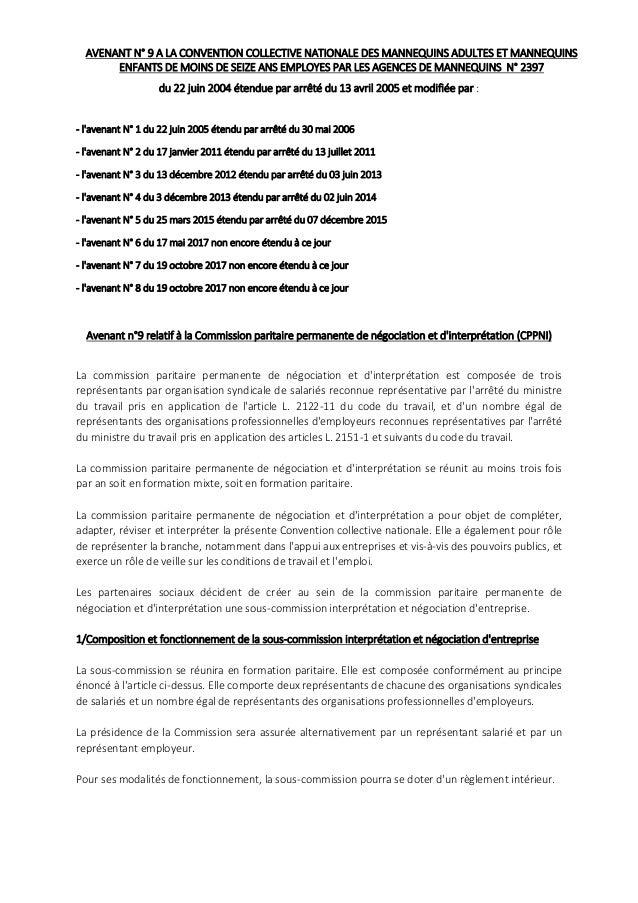 AVENANT N� 9 A LA CONVENTION COLLECTIVE NATIONALE DES MANNEQUINS ADULTES ET MANNEQUINS ENFANTS DE MOINS DE SEIZE ANS EMPLO...