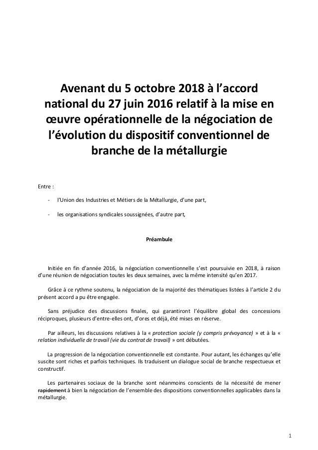 1 Avenant du 5 octobre 2018 à l'accord national du 27 juin 2016 relatif à la mise en œuvre opérationnelle de la négociatio...