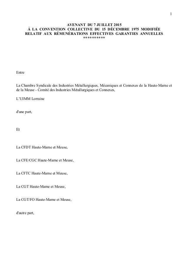 AVENANT DU 7 JUILLET 2015 À LA CONVENTION COLLECTIVE DU 15 DÉCEMBRE 1975 MODIFIÉE RELATIF AUX RÉMUNÉRATIONS EFFECTIVES GAR...