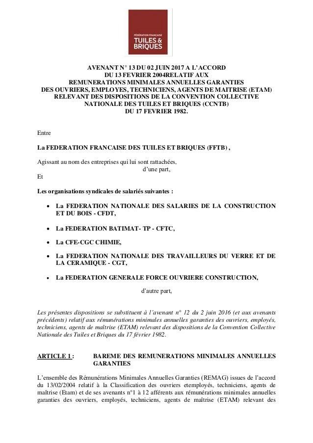 AVENANT N° 13 DU 02 JUIN 2017 A L'ACCORD DU 13 FEVRIER 2004RELATIF AUX REMUNERATIONS MINIMALES ANNUELLES GARANTIES DES OUV...