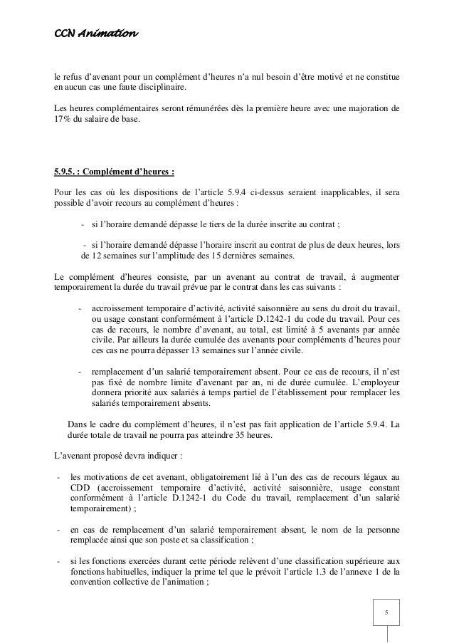 Idcc 1518 Avenant Temps Partiel