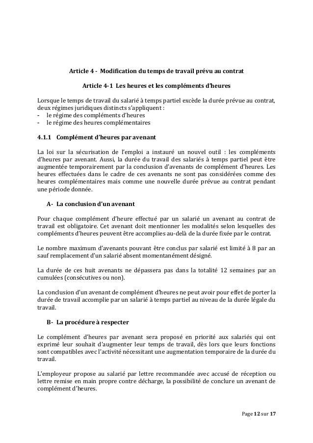Modele Lettre Modification Horaire De Travail Par Lemployeur