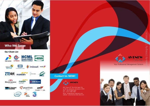 Our Client List  AVENEW Your Professional Management Solution  Contact Us NOW! AVENEW AXA Tower, 45th Floor Kuningan City ...