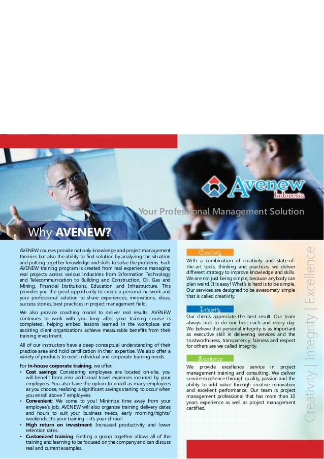 Your Professional Management Solution  AVENEW courses provide not only knowledge and project management and putting togeth...