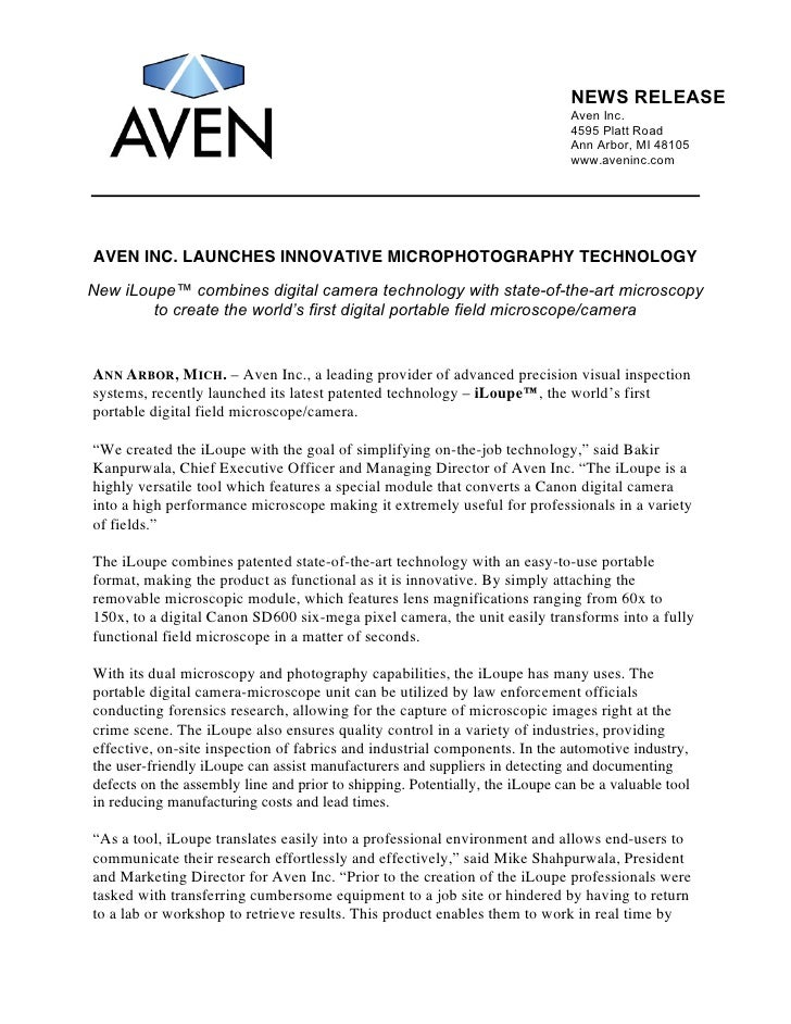 NEWS RELEASE                                                                              Aven Inc.                       ...