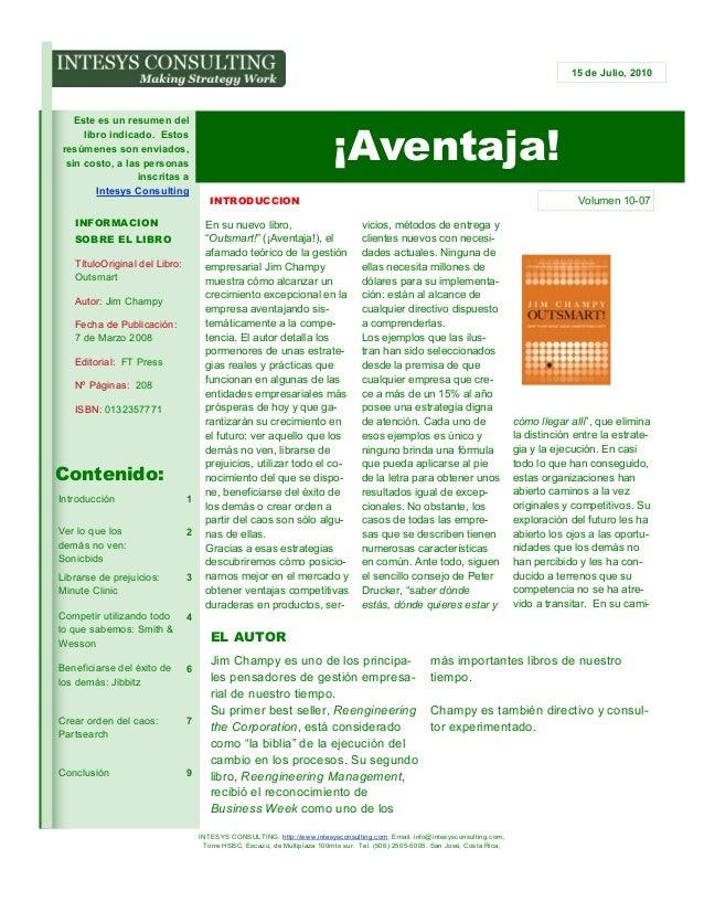15 de Julio, 2010  Este es un resumen del libro indicado. Estos resúmenes son enviados, sin costo, a las personas inscrita...