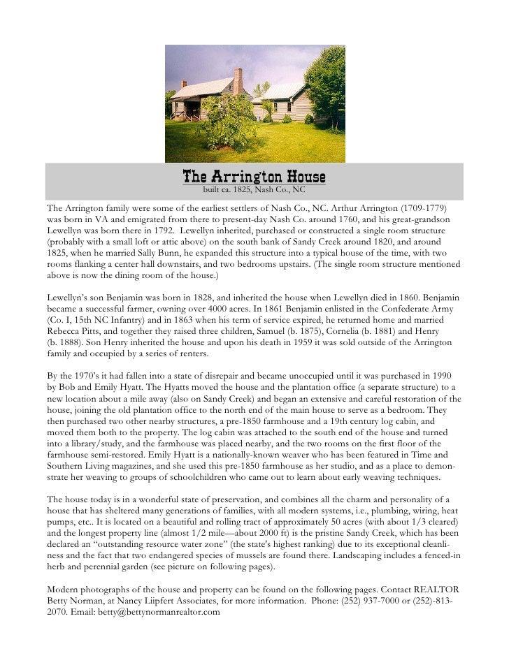 The Arrington House                                          built ca. 1825, Nash Co., NC  The Arrington family were some ...