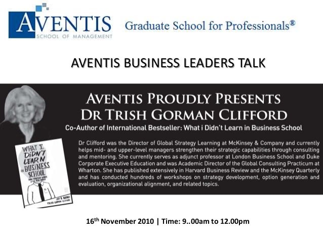 AVENTIS BUSINESS LEADERS TALK 16th November 2010 | Time: 9..00am to 12.00pm