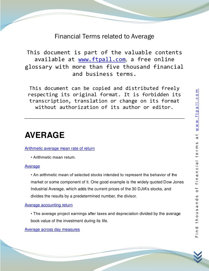 Financial Terms related to Average This document is part of the valuable contents   available at www.ftpall.com, a free on...
