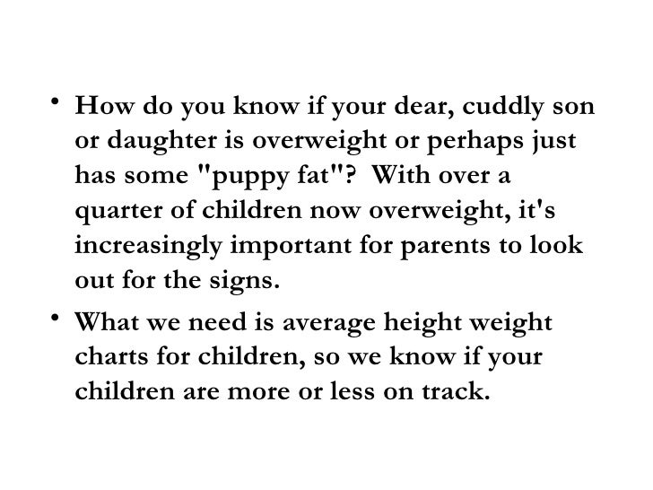 Average Chart For Weight Height For Children