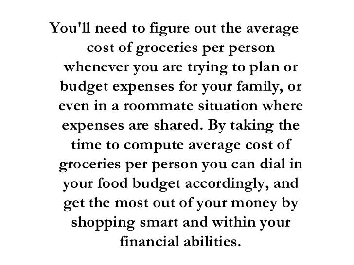 Average Cost Of Food Per Month