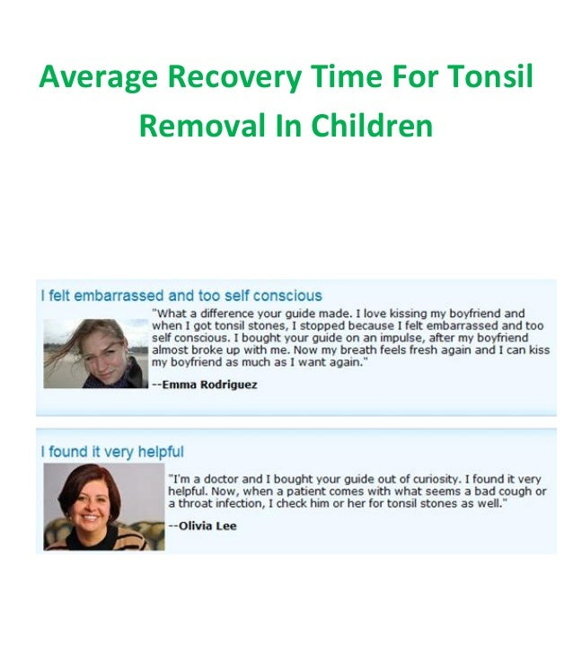 Average Recovery Time For Tonsil Removal In Children