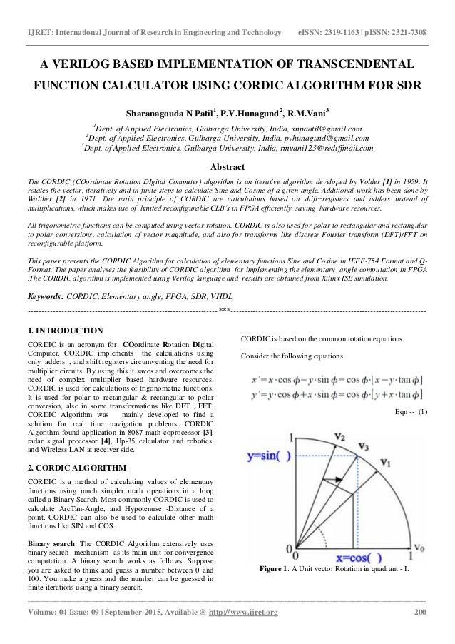 A verilog based implementation of transcendental function