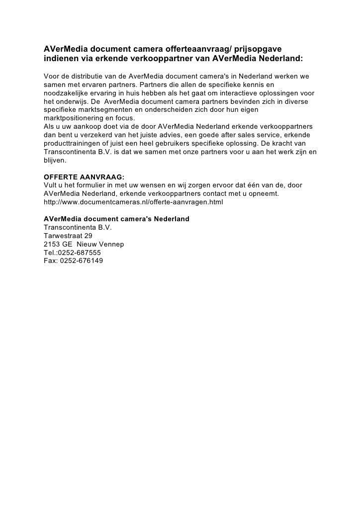 AVerMedia document camera offerteaanvraag/ prijsopgave indienen via erkende verkooppartner van AVerMedia Nederland:  Voor ...