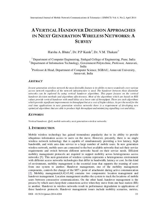 International Journal of Mobile Network Communications & Telematics ( IJMNCT) Vol. 4, No.2, April 2014 DOI : 10.5121/ijmnc...
