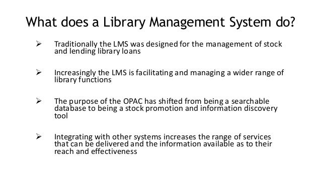 what is library automation Read what is library automation free essay and over 88,000 other research documents what is library automation what is library automation library automation can be defined simply as the use of computer and networking technologies in the.