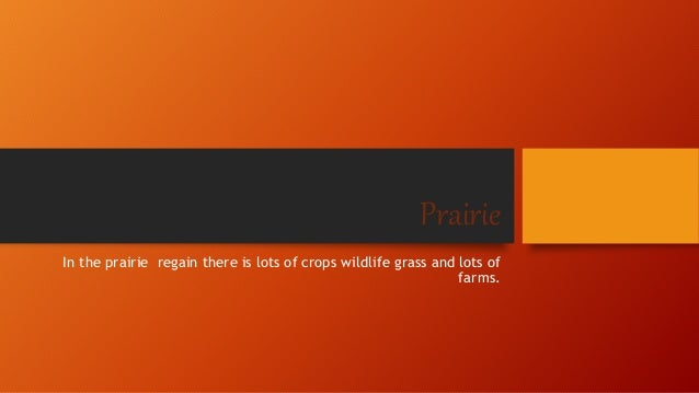 Prairie  In the prairie regain there is lots of crops wildlife grass and lots of  farms.