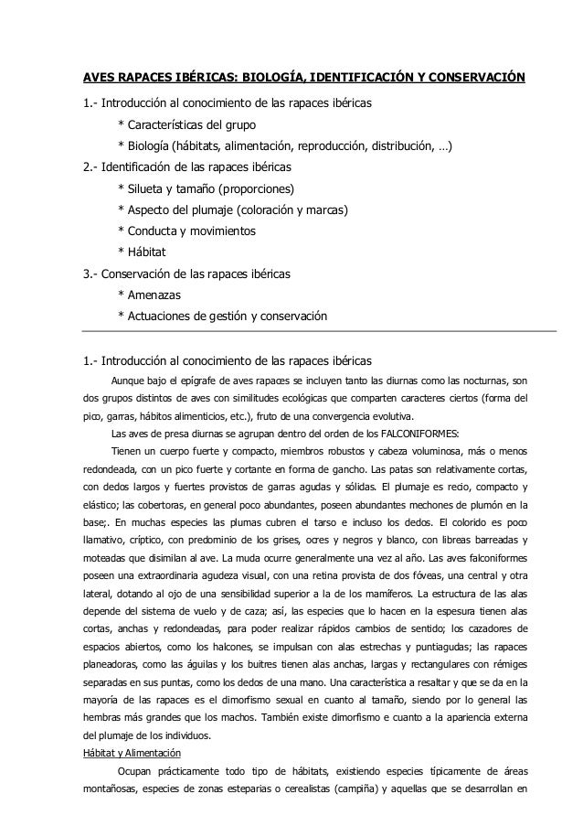 AVES RAPACES IBÉRICAS: BIOLOGÍA, IDENTIFICACIÓN Y CONSERVACIÓN 1.- Introducción al conocimiento de las rapaces ibéricas * ...