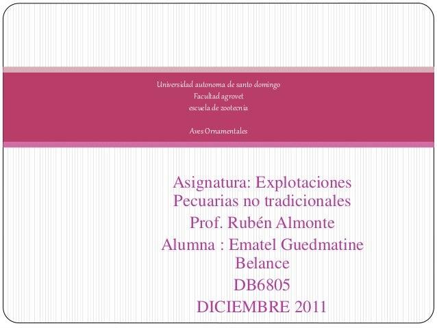 Asignatura: Explotaciones Pecuarias no tradicionales Prof. Rubén Almonte Alumna : Ematel Guedmatine Belance DB6805 DICIEMB...