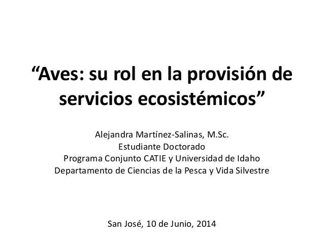 """""""Aves: su rol en la provisión de servicios ecosistémicos"""" Alejandra Martínez-Salinas, M.Sc. Estudiante Doctorado Programa ..."""