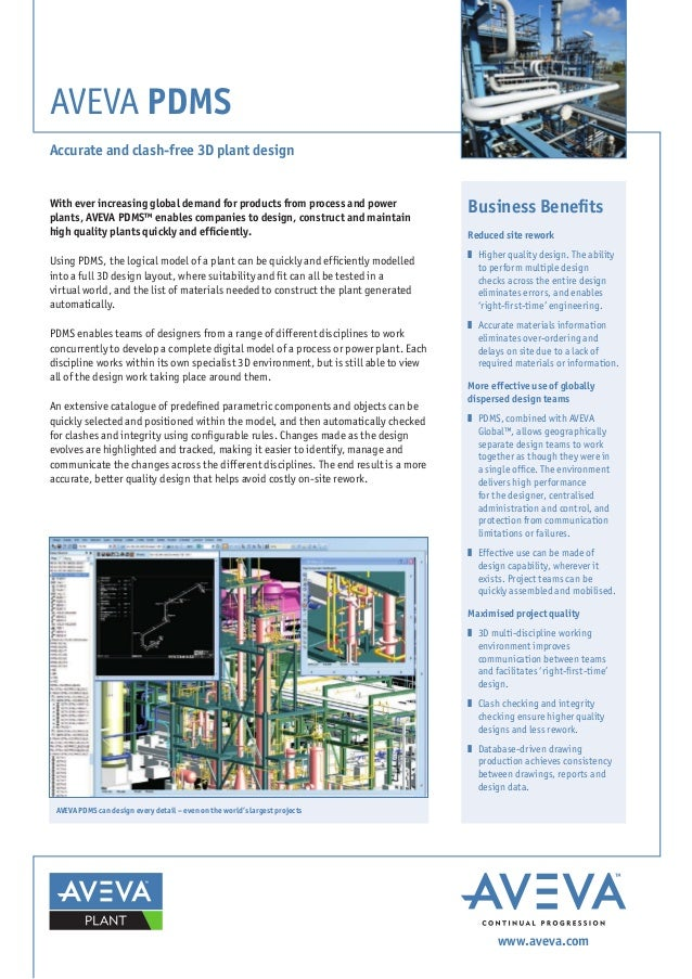 AVEVA PDMS Accurate and clash-free 3D plant design With ever increasing global demand for products from process and power ...