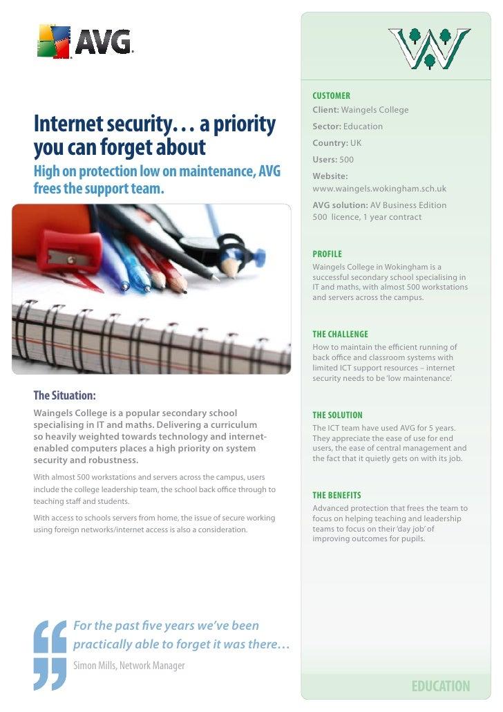 CUSTOMER                                                                          Client: Waingels College Internet securi...