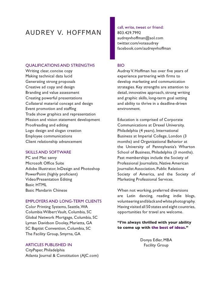 Narrative CV. call, write, tweet or friend: AUDREY V. HOFFMAN ...