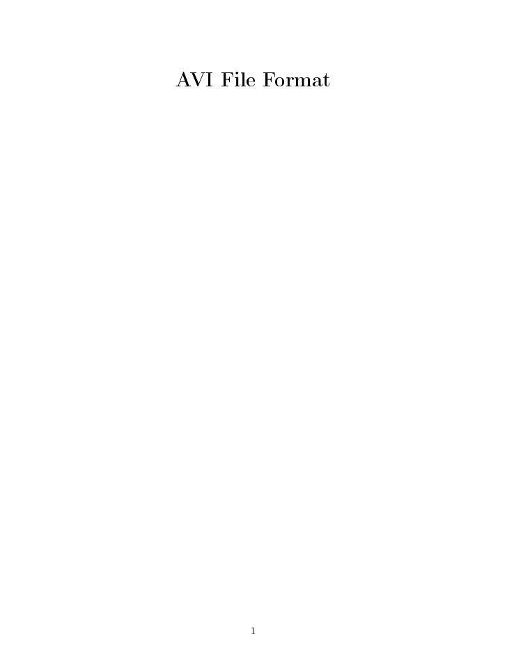 AVI File Format            1