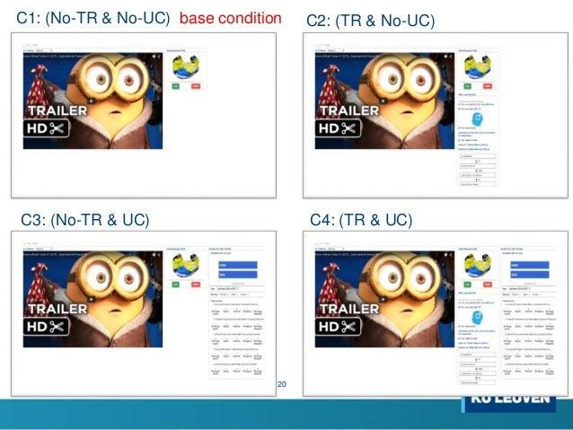 20 C1: (No-TR & No-UC) base condition C2: (TR & No-UC) C3: (No-TR & UC) C4: (TR & UC)