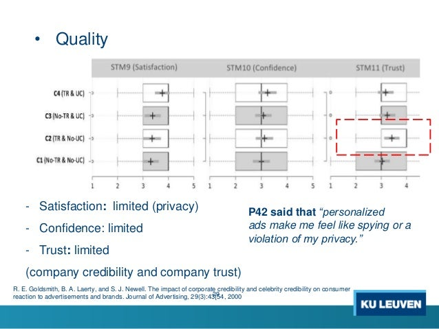 • Quality 29 - Satisfaction: limited (privacy) - Confidence: limited - Trust: limited (company credibility and company tru...