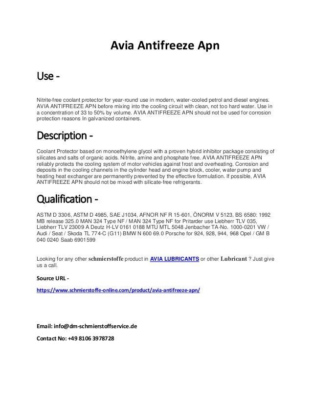 Avia antifreeze apn schmierstoffe-online com