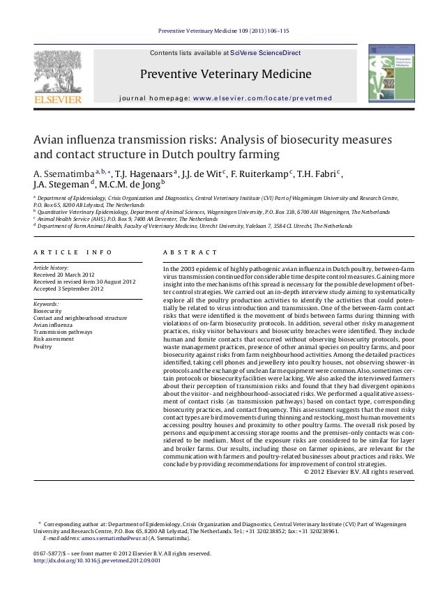 Preventive Veterinary Medicine 109 (2013) 106–115 Contents lists available at SciVerse ScienceDirect Preventive Veterinary...