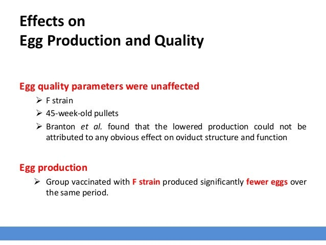 Effects on Egg Production and Quality Egg quality parameters were unaffected  F strain  45-week-old pullets  Branton et...