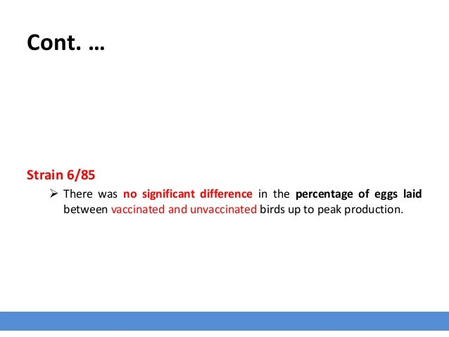 Cont. … Strain 6/85  There was no significant difference in the percentage of eggs laid between vaccinated and unvaccinat...